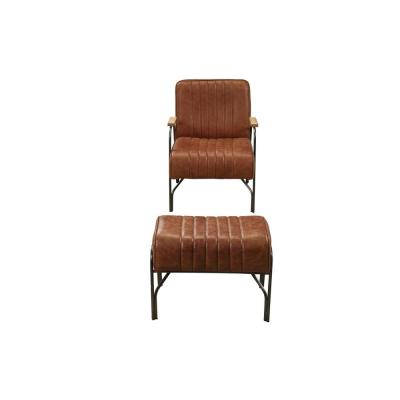 Sarahi Cocoa Top Grain Leather 2-Piece Chair and Ottoman