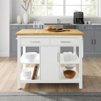 Audrey White Kitchen Island with Wood Top