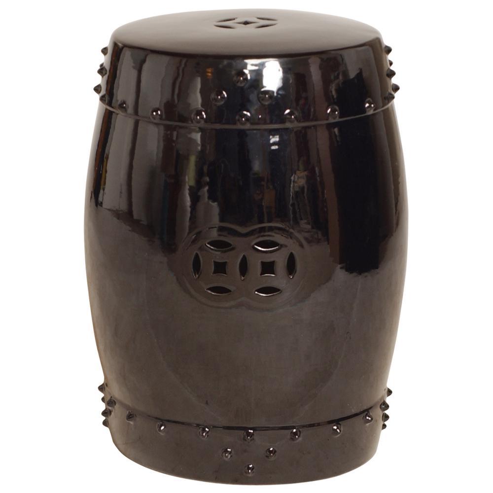 Fine Emissary Large Black Drum Ceramic Garden Stool Gamerscity Chair Design For Home Gamerscityorg