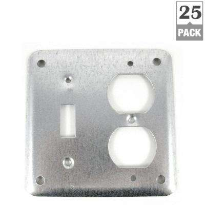 2-Gang 4 in. Metallic Square Box Cover for Toggle/Duplex Receptacle (Case of 25)