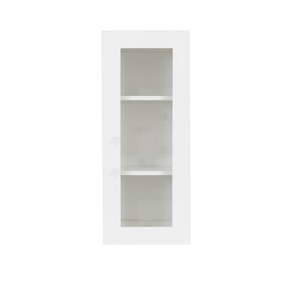 Shaker Assembled 12x30x12 in. Wall Mullion-Door Cabinet with 1-Door 2-Shelf in