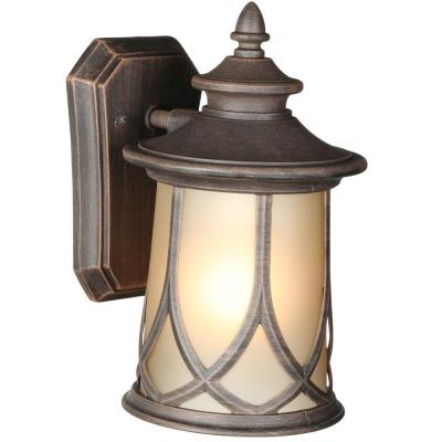 Resort Collection 1-Light Aged Copper 10.9 in. Outdoor Wall Lantern Sconce