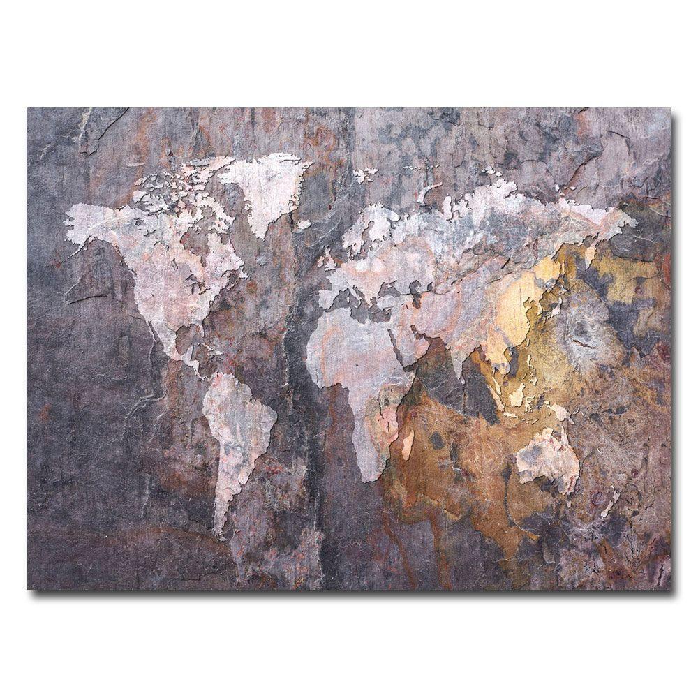 Trademark Fine Art 18 in. x 24 in. World Map - Rock Canvas Art