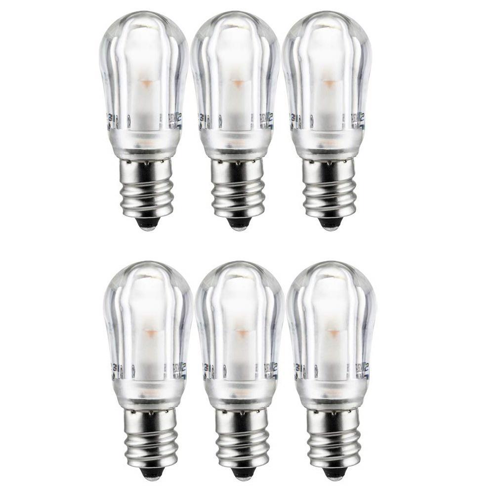 1-Watt Base Warm White S6 LED Indicator Chandelier E12 Appliance Light Bulb (6-Pack)