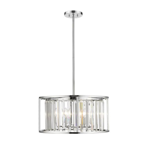 6-Light Chrome Pendant with Clear Crystal Shades
