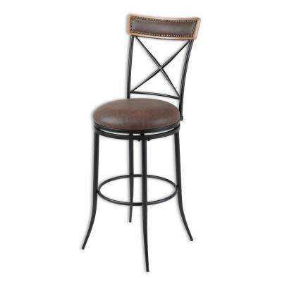 30 in. Boise Metal Bar Stool with Black Upholstered Swivel-Seat and Black Fleck Frame Finish