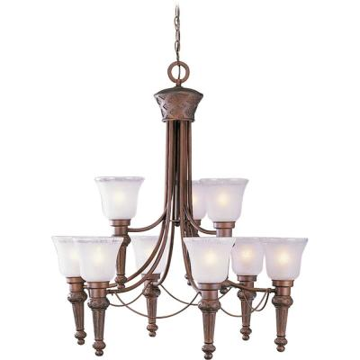 Alexandria 9-Light Interior/Indoor Italian Dusk Hanging Chandelier with Etched Seedy Glass with Clear Edge Bell Shades