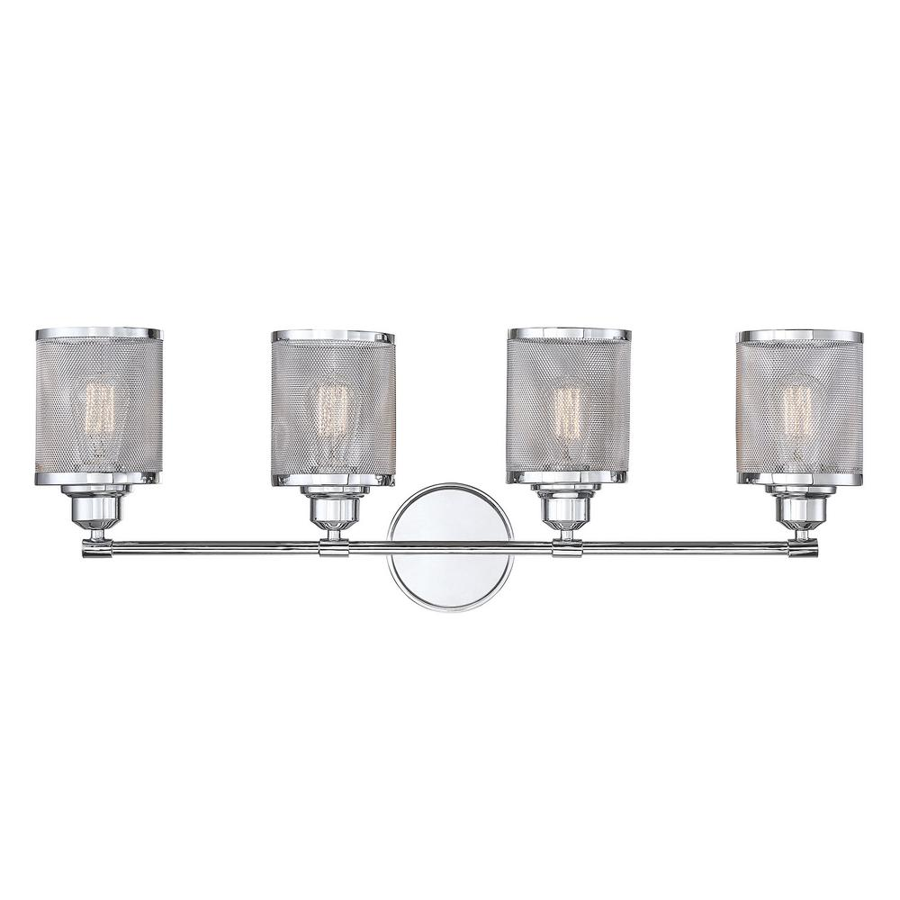 4-Light Polished Chrome Bath Light with and