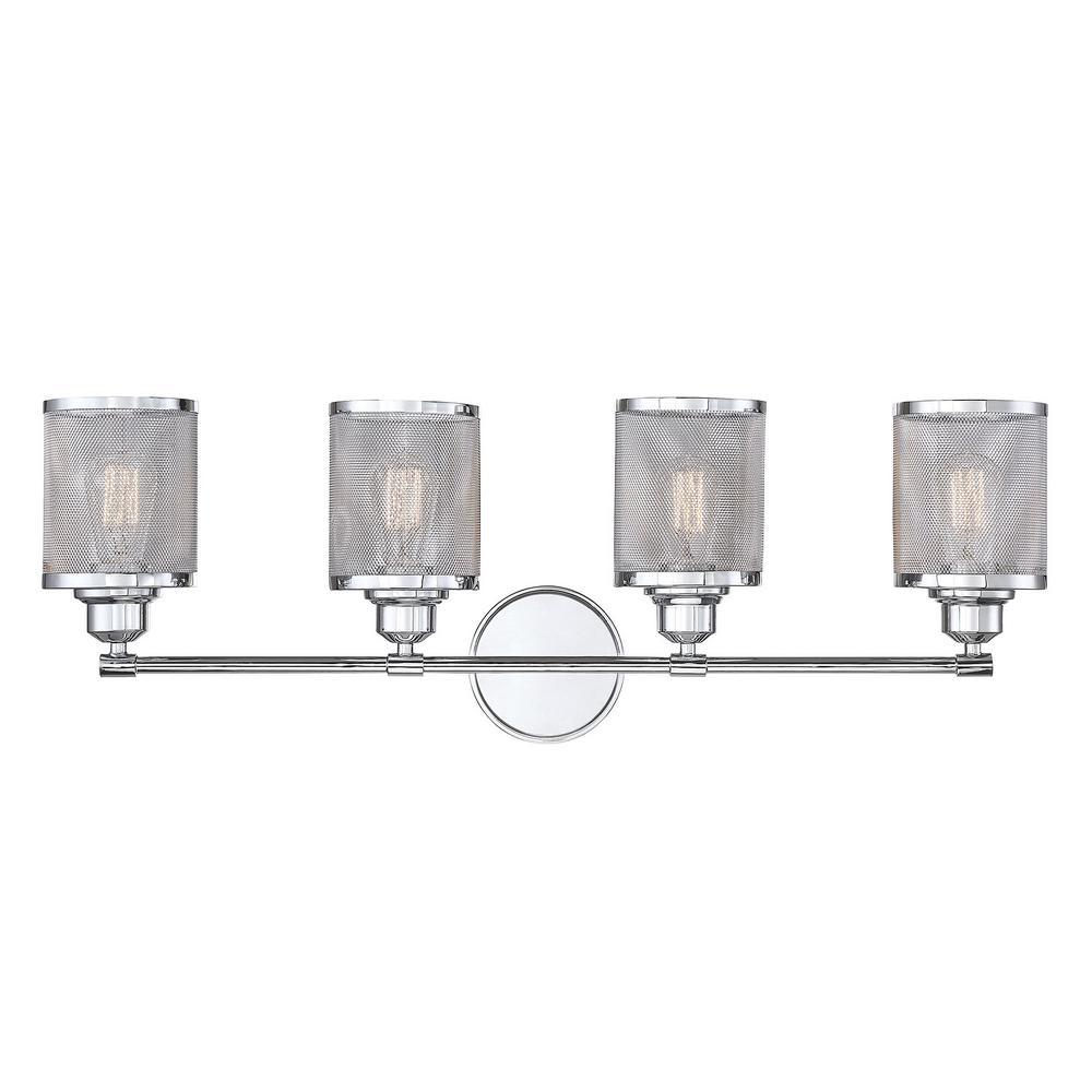 4-Light Polished Chrome Bath Light with and