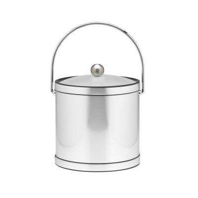 3 Qt. Brushed Chrome Mylar Ice Bucket with Bale Handle, Lucite Cover and Round Knob