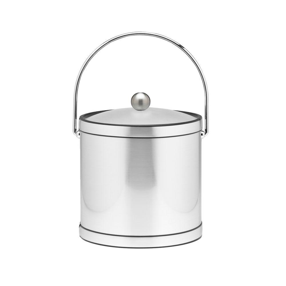 Kraftware 3 Qt. Brushed Chrome Mylar Ice Bucket with Bale Handle, Lucite Cover and Round Knob