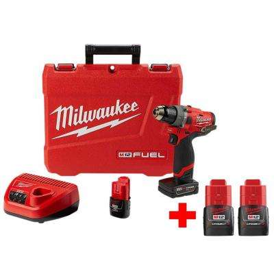 M12 FUEL 12-Volt Lithium-Ion Brushless Cordless 1/2 in. Hammer Drill Kit With Two Free M12 1.5Ah Batteries
