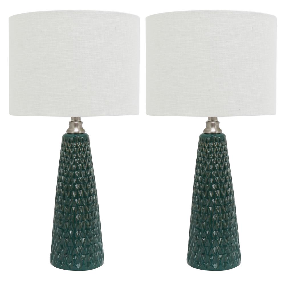 Decor Therapy Jameson 26 5 In Green Table Lamp With Linen Shade