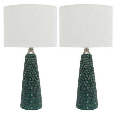 Jameson 26.5 in. Green Table Lamp with Linen Shade