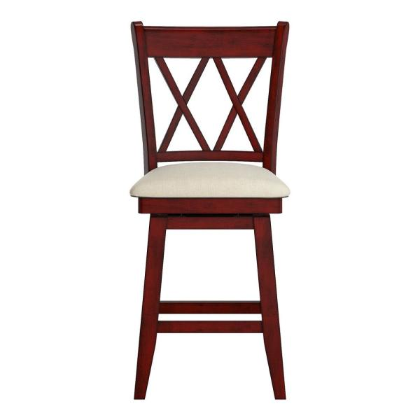 HomeSullivan 24 in. H Antique Berry Double X Back Swivel Chair