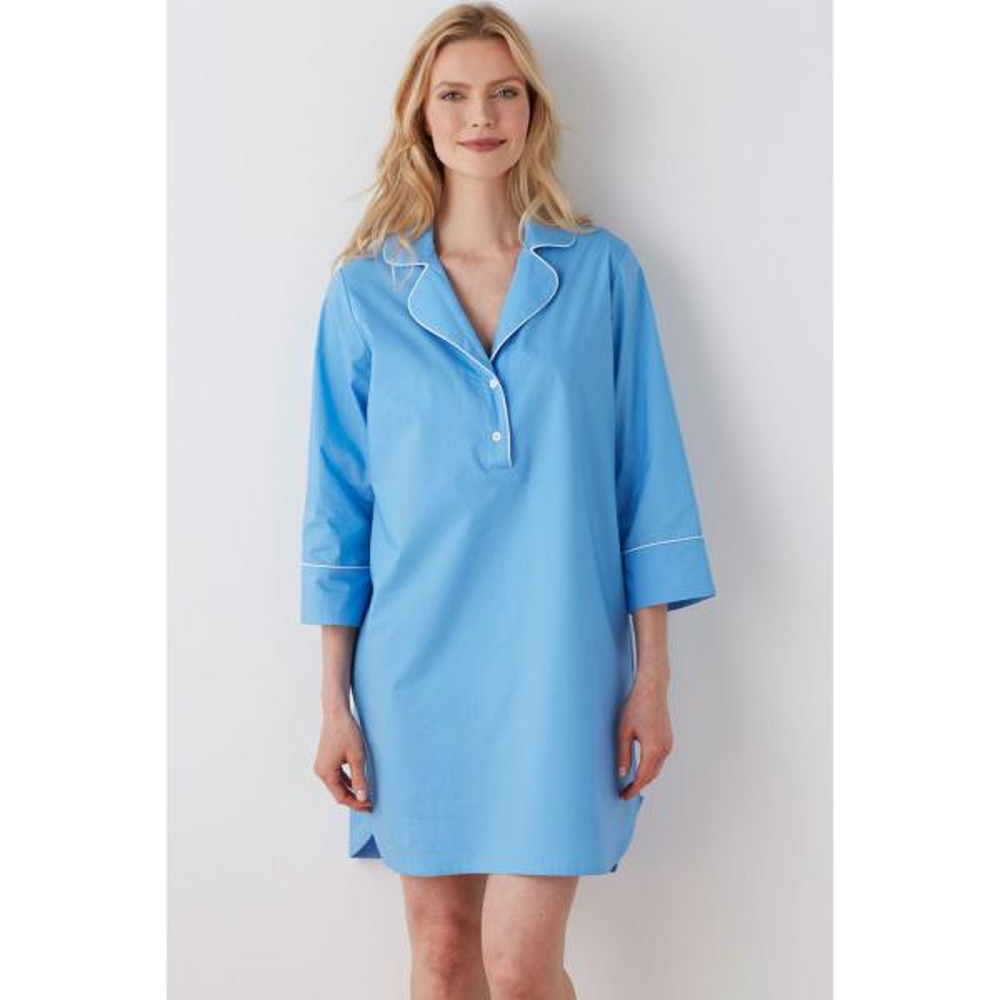 Solid Poplin Cotton Women's Medium Lake Blue Nightshirt