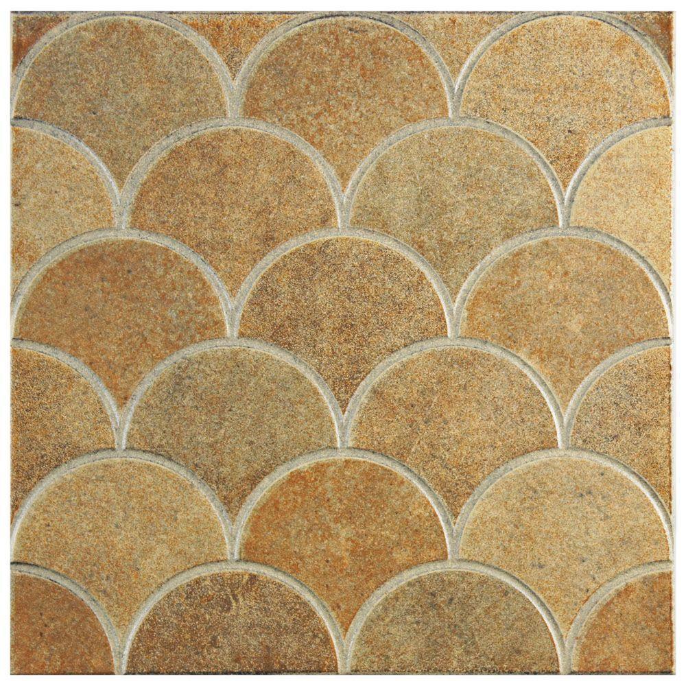 Merola Tile Escama Beige In X In Ceramic Floor And - 13 inch floor tiles