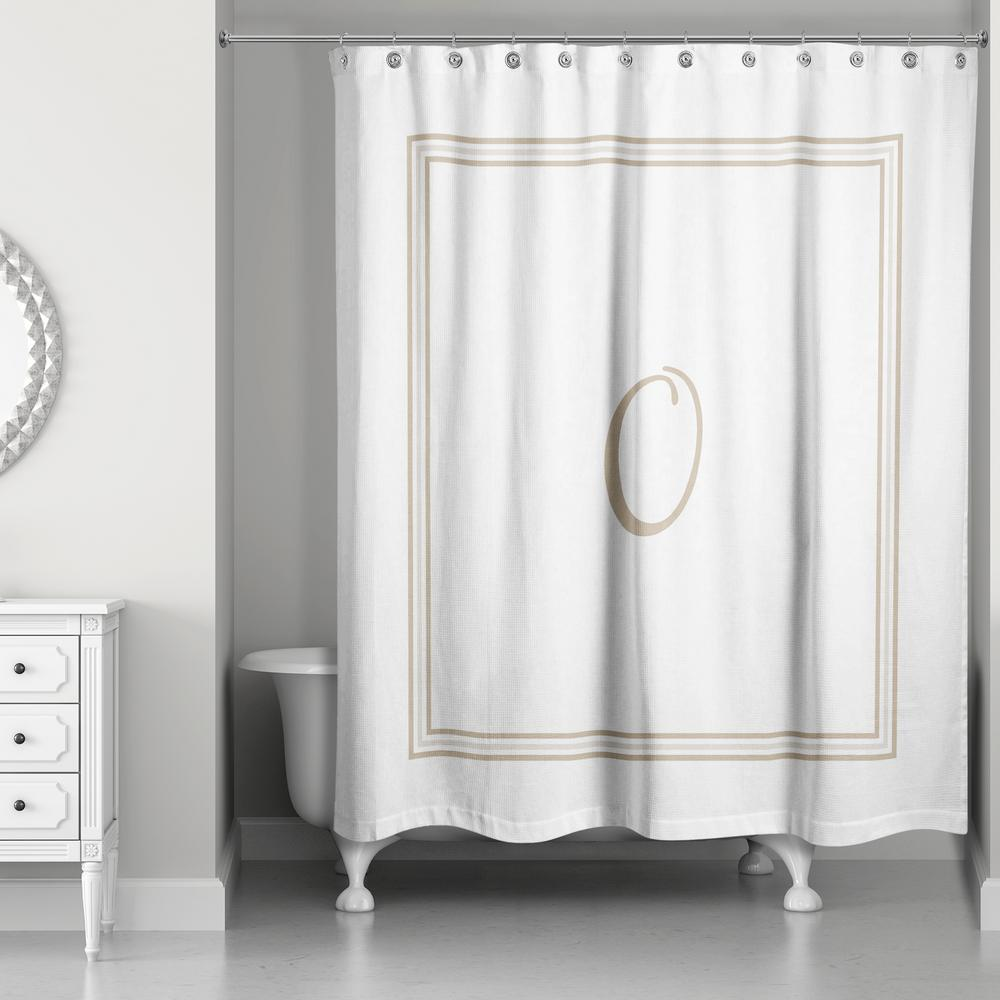 L Beige And White Letter O Monogrammed Fabric Shower Curtain 4140