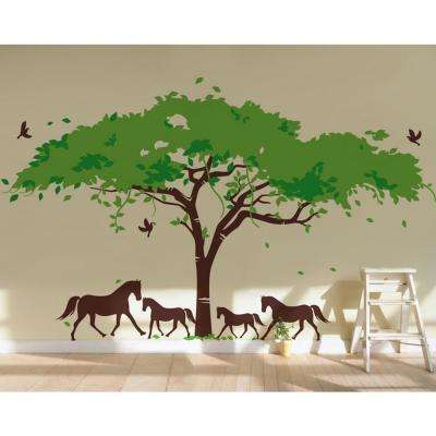 130 in. x 90 in. Spring Green and Leaf Green Leaves Africa Tree and Hourses Removable Wall Decal