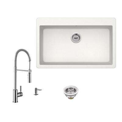 All-in-One Drop-In Granite Composite 33 in. Single Bowl 3-Hole Kitchen Sink in White with Faucet in Brushed Nickel