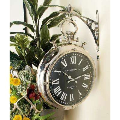 22 in. x 16 in. Vintage Pocket-Watch-Style Suspended Wall Clock