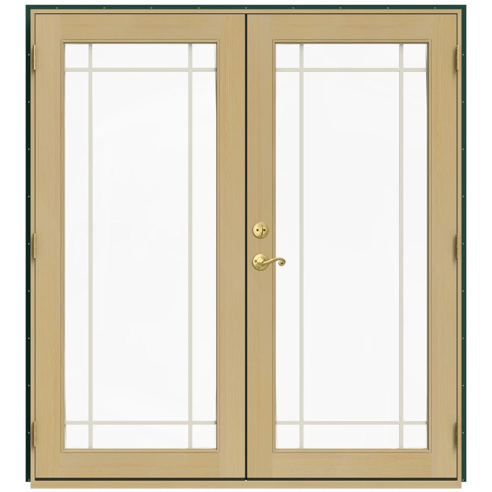 Jeld wen 72 in x 80 in w 2500 green clad wood left hand 9 lite french patio door w unfinished for Jeld wen french doors interior