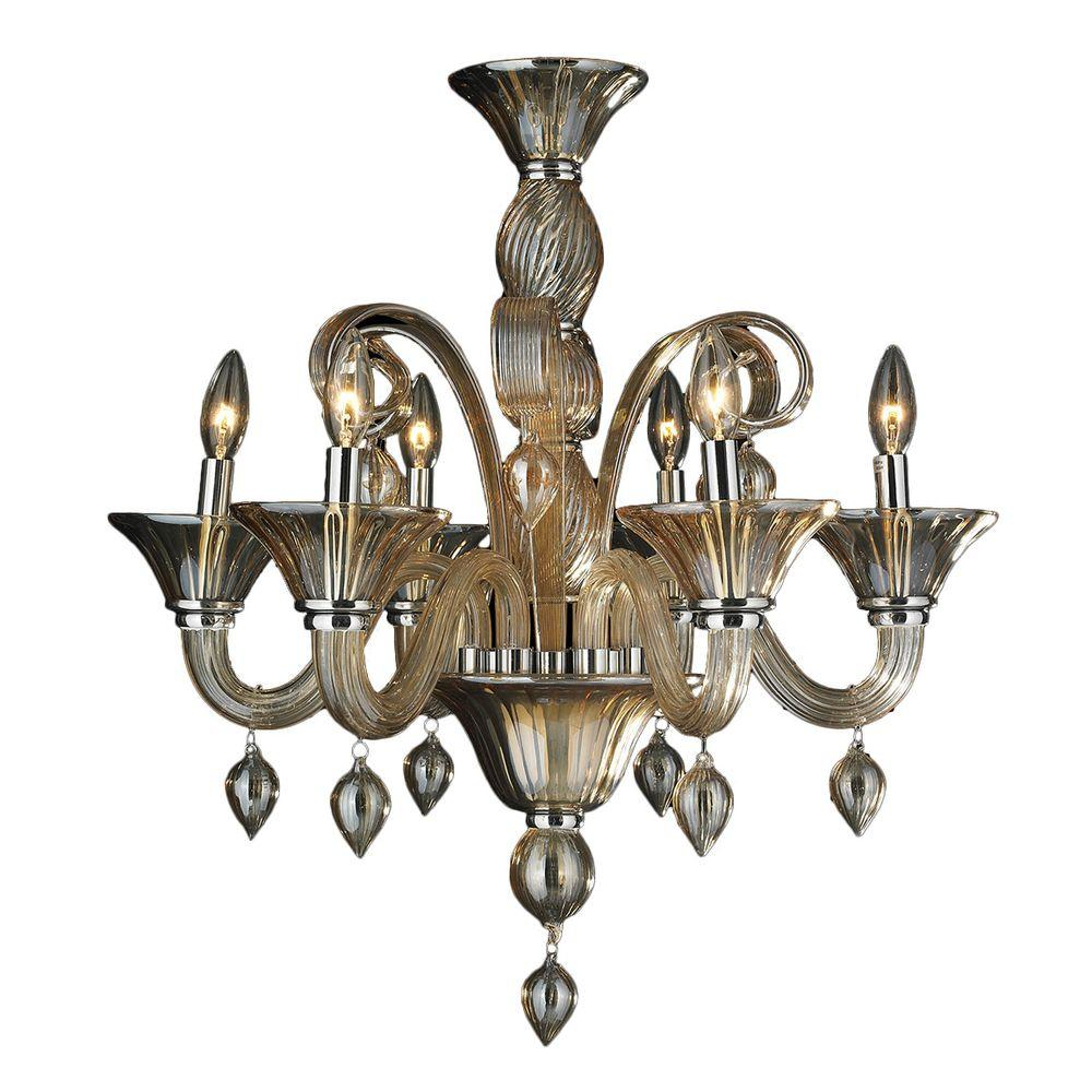 Worldwide lighting murano 6 light polished chrome and amber blown worldwide lighting murano 6 light polished chrome and amber blown glass venetian style chandelier aloadofball Choice Image