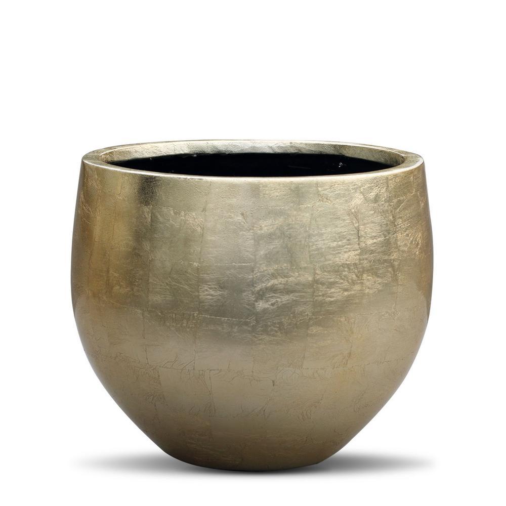 8.1 in. x 9.6 in. x 9.6 in. Gold FiberStone Leaf Lacquer Pot