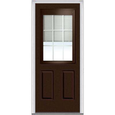 36 in. x 80 in. Internal Blinds and Grilles Left-Hand Inswing 1/2-Lite Clear Low-E Painted Steel Prehung Front Door