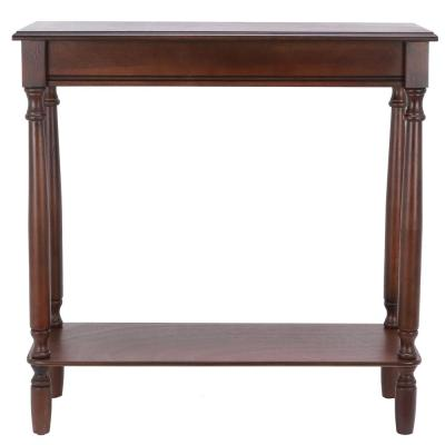 29 in. Walnut Rectangle Wood Console Table with Storage
