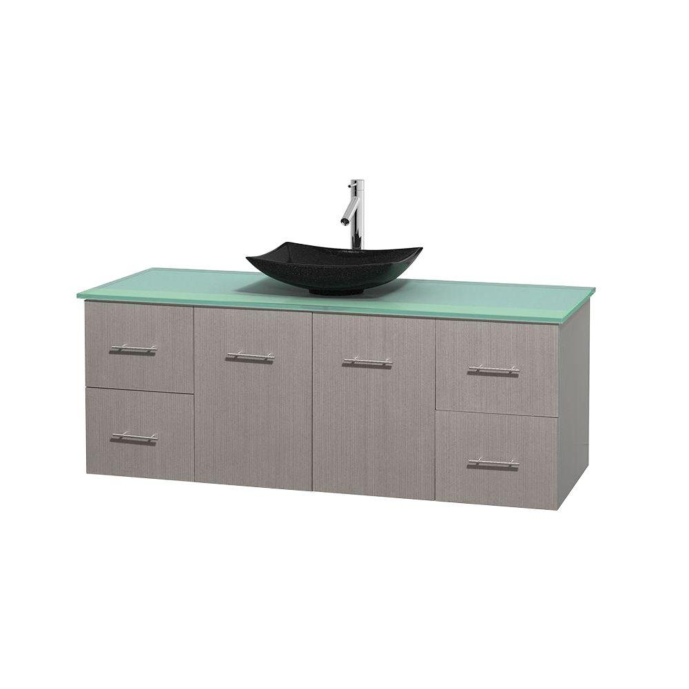 Wyndham Collection Centra 60 in. Vanity in Gray Oak with Glass Vanity Top in Green and Black Granite Sink