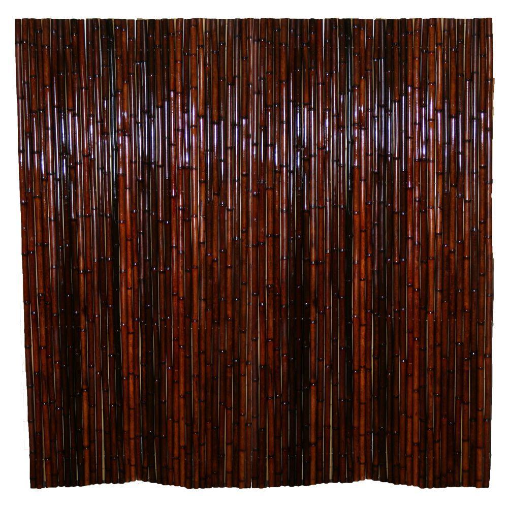 6 ft. x 8 ft. Mahogany Full Round Bamboo Fence