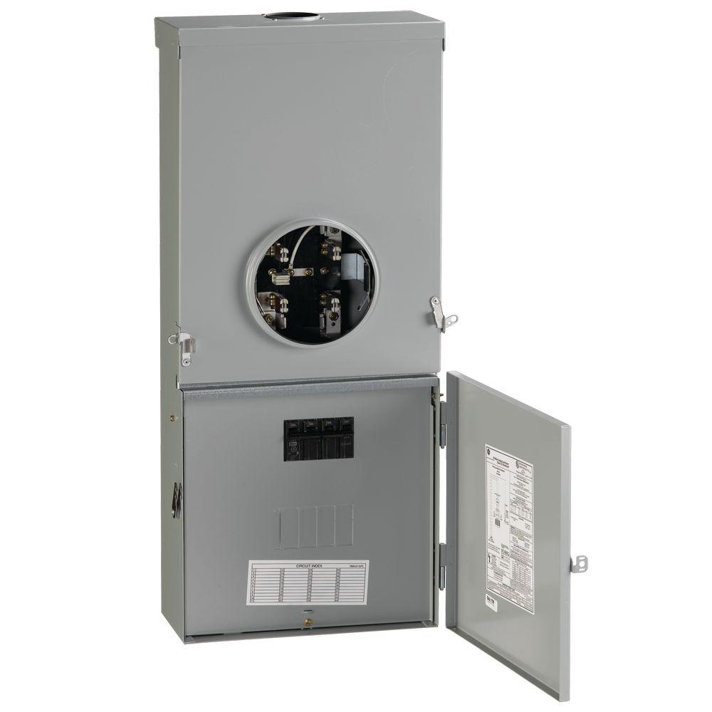 Ge 200 Amp 4 Space 8 Circuit Outdoor Combination Main Breaker Ringless Meter Socket Load Center Tsmr420cscu The Home Depot