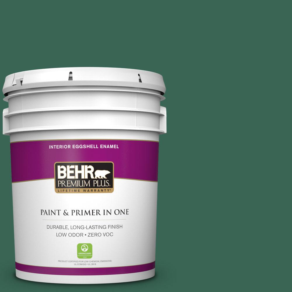 5 gal. #M420-7 Billiard Green Zero VOC Eggshell Enamel Interior Paint