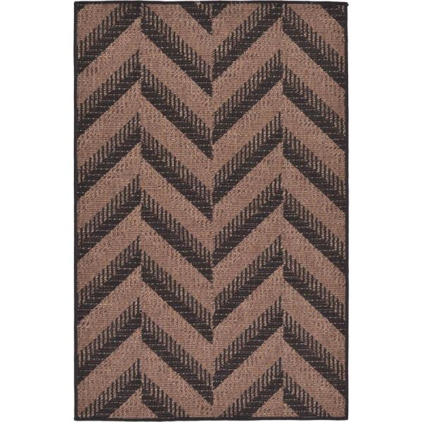 Unique Loom Outdoor Chevron Brown 3 3 X 5 0 Area Rug 3126520 The Home Depot