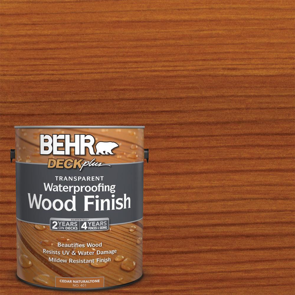 Behr deckplus 1 gal cedar naturaltone transparent waterproofing exterior wood finish 40101 for Home depot exterior wood stain