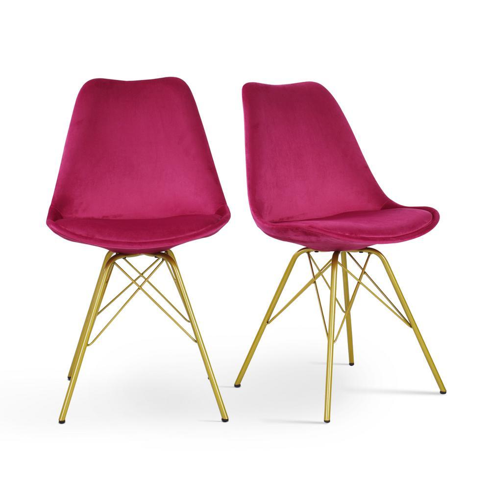 Jl Creation Hola Pink Velvet Upholstered Dining Chair Set Of 2 Hola Velvet Blossom The Home Depot