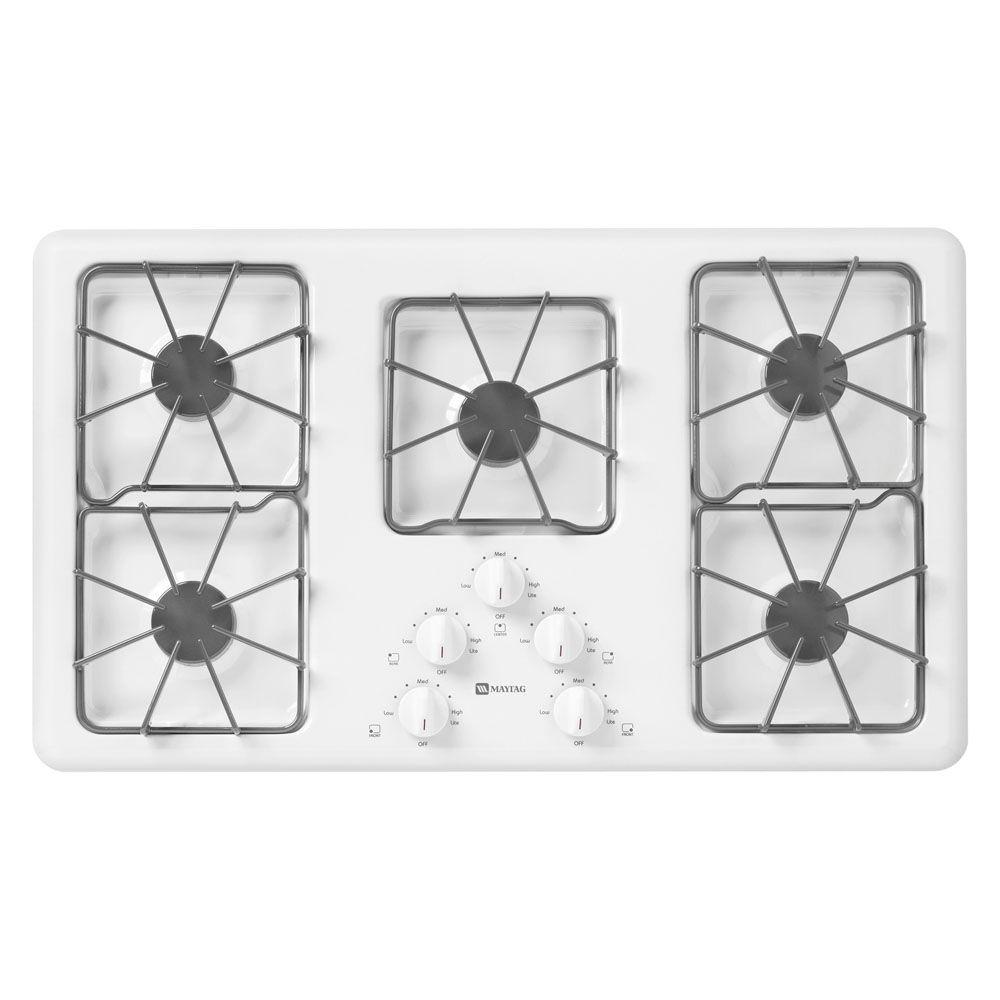 Maytag 36 in. Gas Cooktop in White with 5 Burners including Power Cook Burners