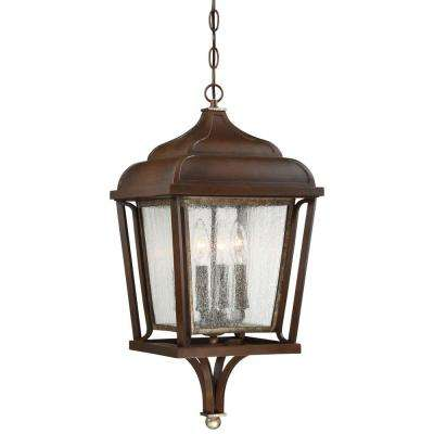 Astrapia II 4-Light Dark Rubbed Sienna with Aged Silver Hanging Light
