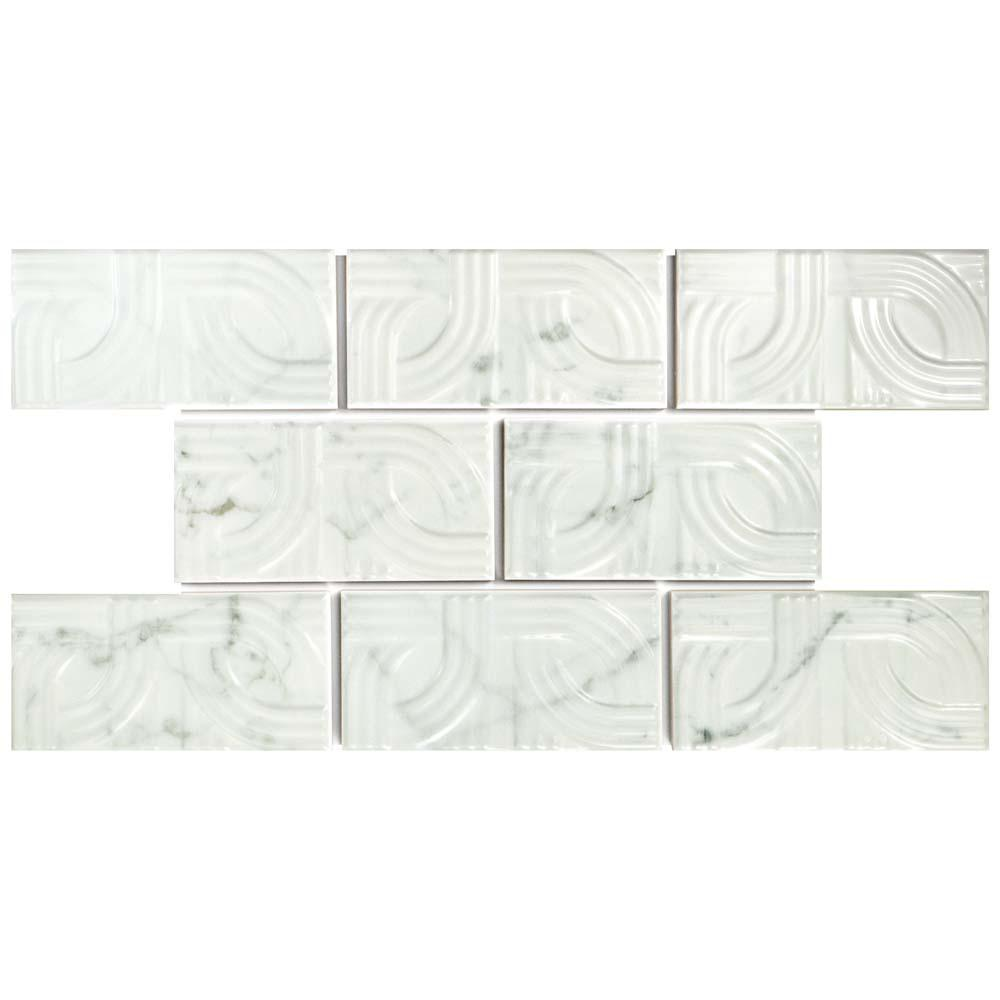MerolaTile Merola Tile Classico Carrara Glossy Metropolis 3 in. x 6 in. Ceramic Subway Wall Tile (1 sq. ft. / pack), White Marble / High Sheen
