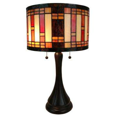13.5 in. Multicolored Tiffany Style Geometric Table Lamp