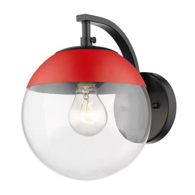 Black Dixon Sconce with Clear Glass and Red Cap