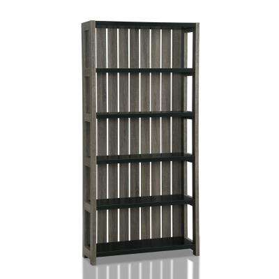 Wenoah Distressed Gray and Black Bookcase