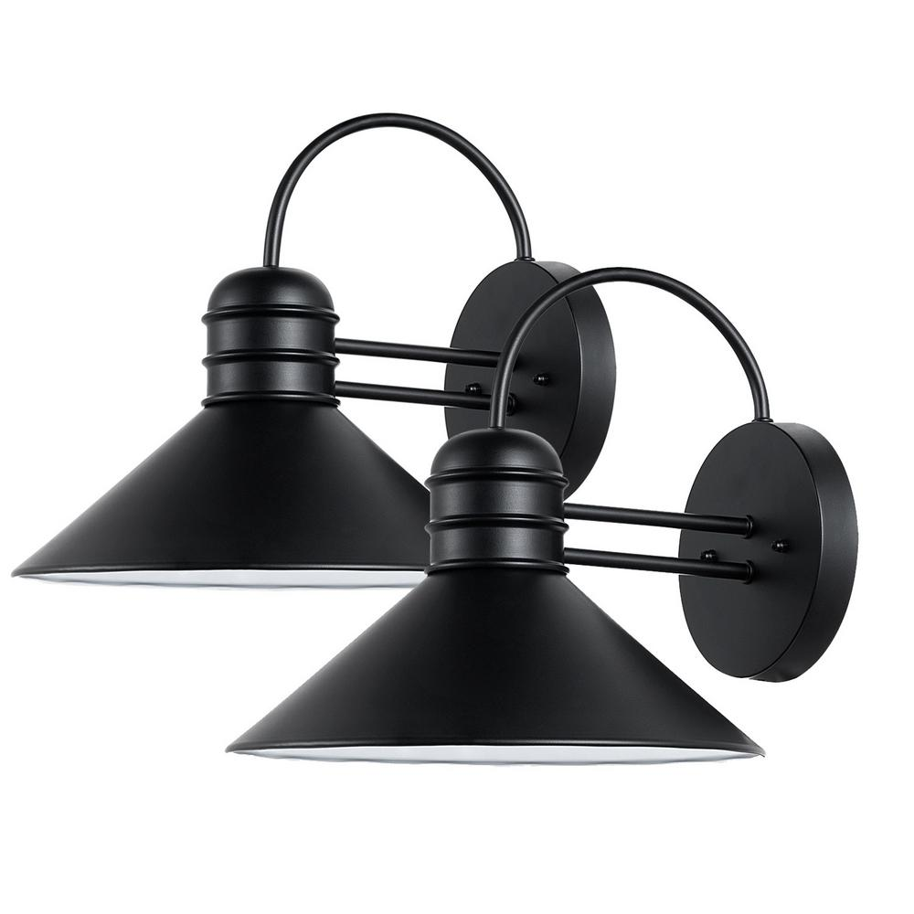 Globe Electric Sebastien 1 Light Black Outdoor Wall Sconce (2 Pack)