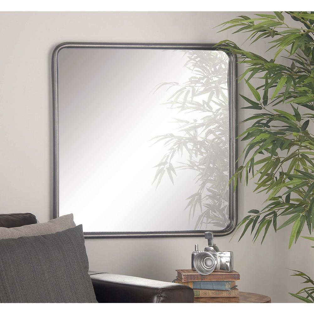 30 in. x 30 in. Square Metallic Gray Framed Wall Mirror