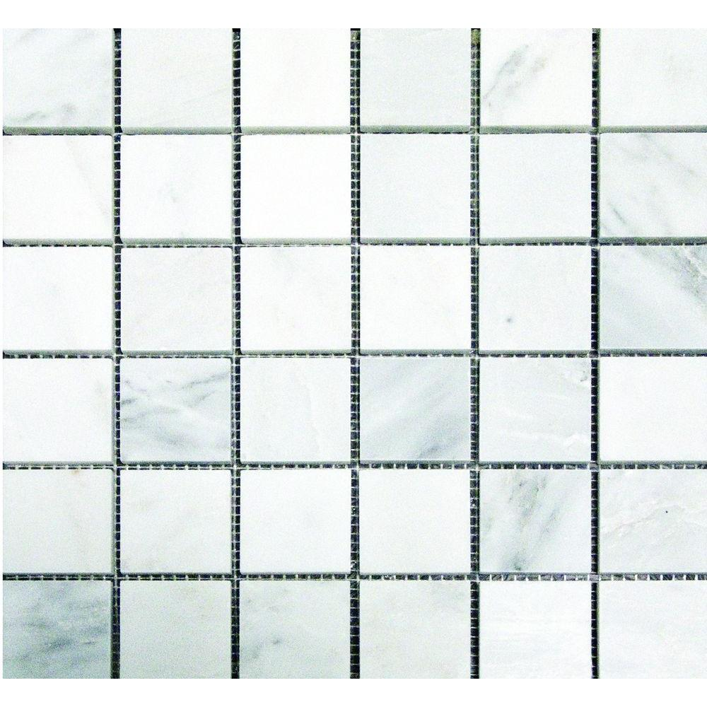 MS International Greecian White 12 in. x 12 in. x 10 mm Honed Marble Mesh-Mounted Mosaic Tile