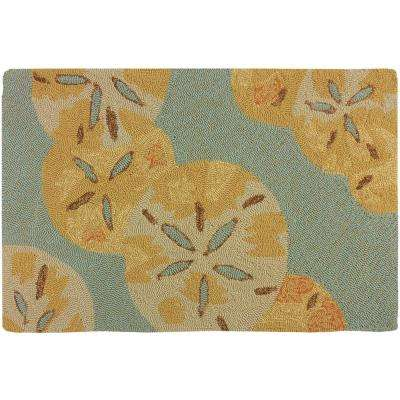 Sand Dollars by The Sea Teal Green 2 ft. x 3 ft. Indoor/Outdoor Area Rug