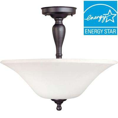 3-Light Dark Chocolate Bronze Semi-Flush Mount Light with White Satin Glass