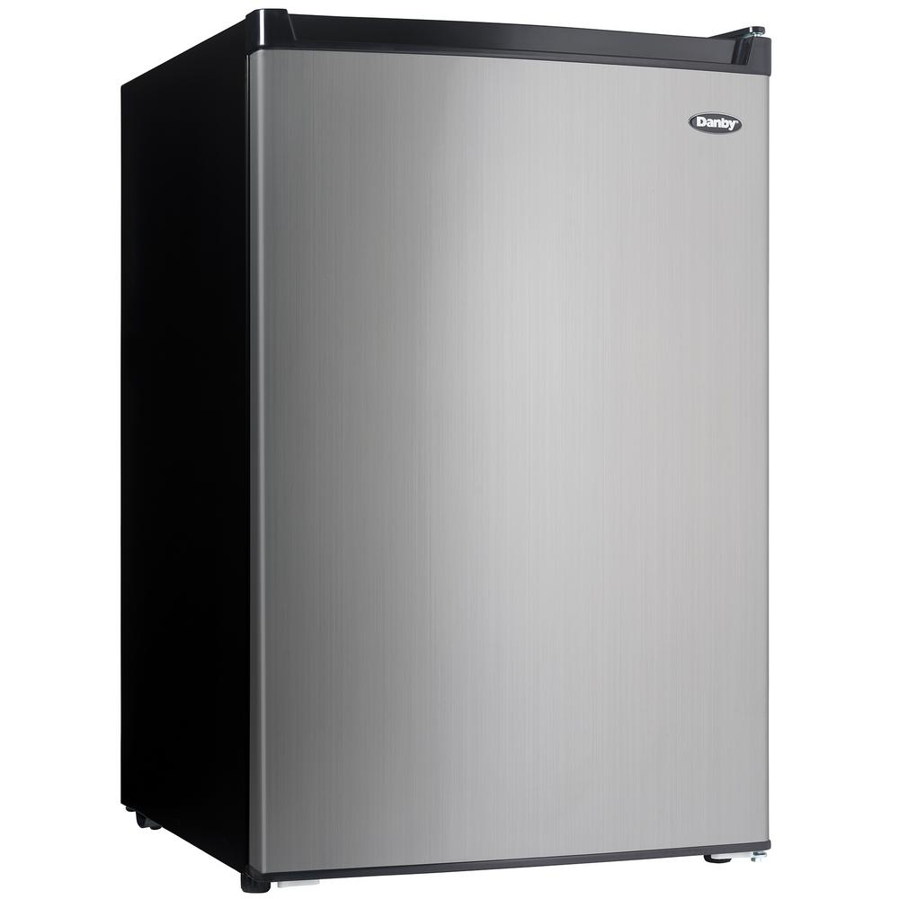 Danby 4.5 cu. ft. Mini Fridge with Freezer Section in Black/Stainless Steel