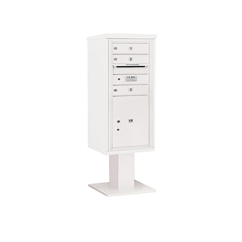 3400 Horizontal Series 3-Compartment 1-Parcel Locker Pedestal Mount Mailbox
